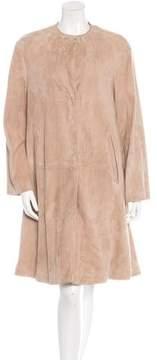 Bottega Veneta Long Sleeve Suede Coat
