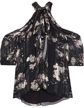 Erdem Elin Cold-shoulder Printed Silk-chiffon Blouse - Black