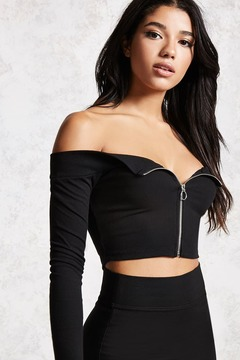 Forever 21 Zip-Front Off-the-Shoulder Top