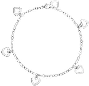 Bliss Stainless Steel Heart Charm Anklet