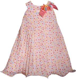 Bonnie Jean Toddler Girl Dot Pleated Chiffon Dress