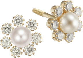 JCPenney FINE JEWELRY Girls Pearl & Cubic Zirconia Flower Stud Earrings