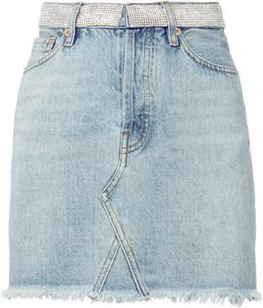 Alexandre Vauthier Crystal Waist Denim Mini Skirt