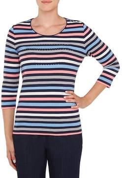 Allison Daley Petites Embellished Crew-Neck Stripe Knit Top