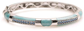 Swarovski Light Blue Stripe Bangle With Crystals