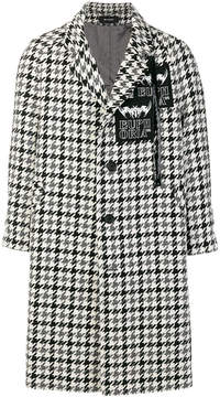 Misbhv houndstooth print patch appliqué coat