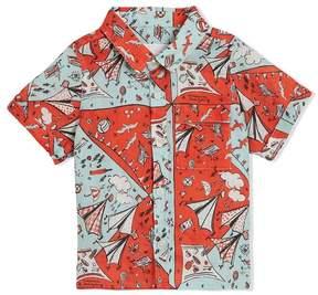 Burberry Short-sleeve Picnic Print Linen Shirt