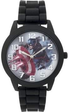 Marvel Captain America Men's Round Watch, Black Silicone Strap