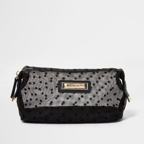 River Island Womens Black polka dot mesh make-up bag