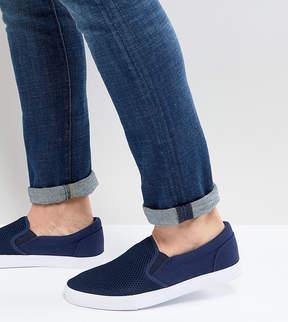 Asos Wide Fit Slip On Sneakers In Navy Mesh