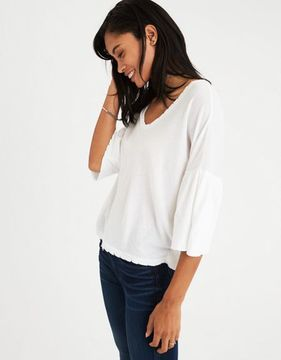 American Eagle Outfitters AE Ruffle 3/4 Sleeve T-Shirt
