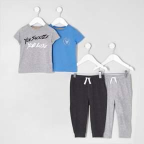 River Island Mini boys grey print pajama set multipack