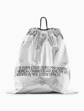 Calvin Klein metallic oversized printed drawstring bag
