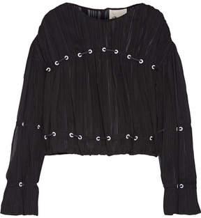 3.1 Phillip Lim Embellished Pintucked Silk-chiffon Blouse - Black