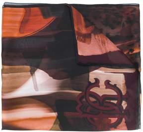 Roberto Cavalli bleached logo scarf
