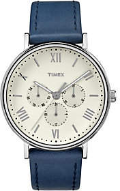 Timex Men's Classic Blue Leather Strap Watch