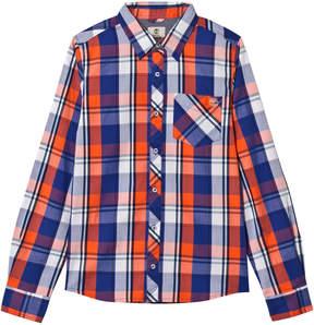 Timberland Kids Blue and Orange Check Shirt