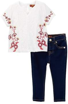 7 For All Mankind Embroidered Tee & Skinny Jean (Baby Girls)