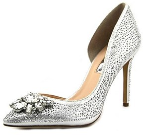 INC International Concepts Kenjay Women Pointed Toe Canvas Silver Heels.