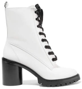 Marc Jacobs Ryder Lace-up Polished-leather Ankle Boots - White