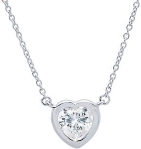 Crislu Bezel Set Heart CZ Pendant Necklace