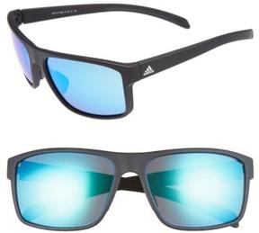 Women's Adidas Whipstart 61Mm Sunglasses - Black Matte/ Blue Mirror