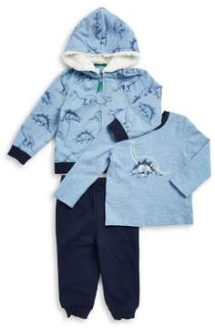 Little Me Baby Boy's Three-Piece Dinosaur Faux Fur-Trimmed Cotton Jacket, Heathered Tee and Drawstring Pants Set