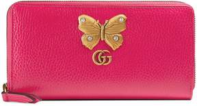 Gucci Leather zip around wallet with butterfly - BRIGHT PINK LEATHER - STYLE