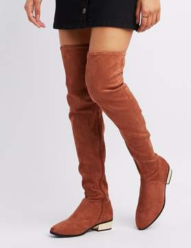 Charlotte Russe Faux Suede Almond Toe Over-The-Knee Boots