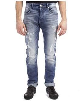 Pierre Balmain Men's Distressed Denim Jeans Pants Light Blue.