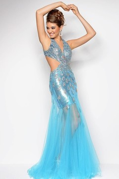Blush Lingerie Peacock Adorned V-Neck A-Line Gown 9530