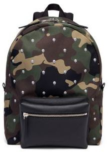Alexander McQueen Leather Camouflage Skull Patterned Backpack