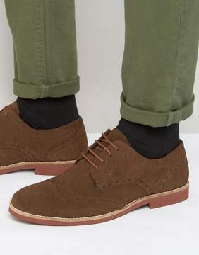 Red Tape Brogues In Brown Suede