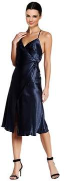 ABS by Allen Schwartz Crinkle Satin Sleeveless Wrap Dress.
