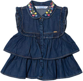 Mayoral Blue Denim Frill Embroidered Shirt
