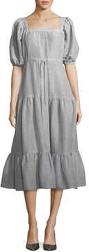 Co Square-Neck Tiered Stripe Linen Long Dress