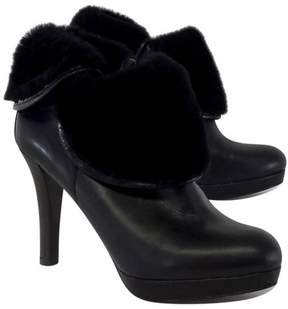 Brooks Brothers Black Leather Fold Over Booties