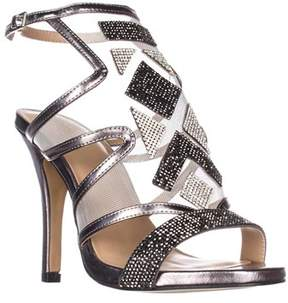 Thalia Sodi Ts35 Regalo Rhinestone Mesh Dress Sandals, Pewter.