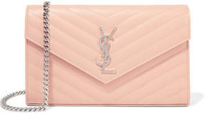Saint Laurent Monogramme Mini Quilted Textured-leather Shoulder Bag - Blush