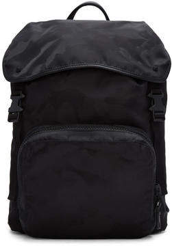 Valentino Black Camo Jacquard Backpack