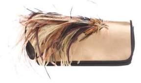 Dries Van Noten Suede Feather-Accented Clutch