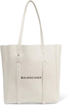 Balenciaga Small Printed Textured-leather Tote - White