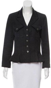 Chanel Silk Frayed-Trimmed Blazer