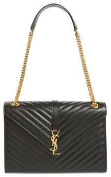 Saint Laurent 'Large Monogram' Grained Leather Shoulder Bag - Black