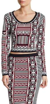 Flying Tomato Geometric Print Pullover Sweater