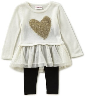 Flapdoodles Little Girls 2T-6X Heart Eyelash Intarsia/Mesh A-Line Dress & Solid Leggings Set
