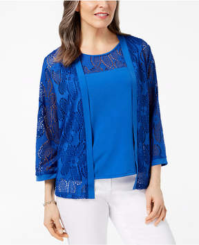Alfred Dunner Royal Street Layered-Look Lace Top