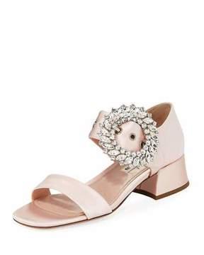 Miu Miu Satin Crystal-Embellished 35mm Sandal