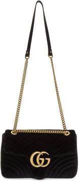 Gucci Black Medium Velvet GG Marmont 2.0 Bag