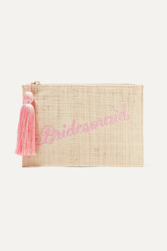 Kayu - Bridesmaid Embroidered Woven Straw Pouch - Sand